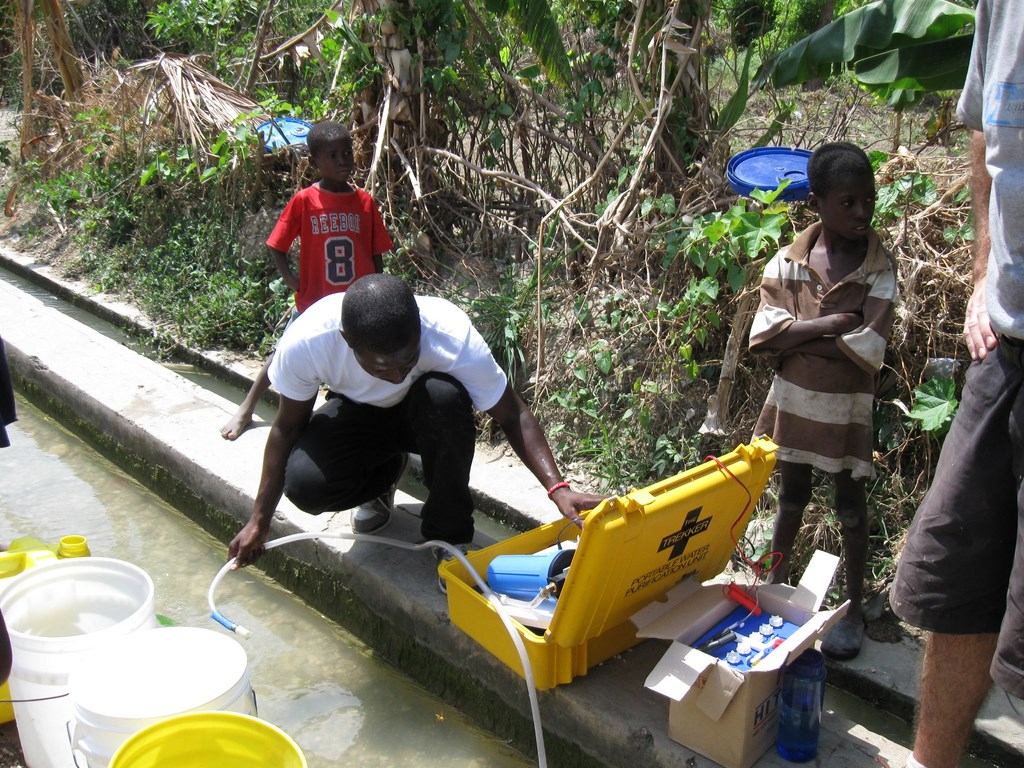 Pumping water through filters.
